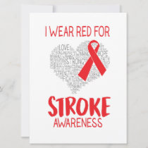 I Wear Red For Stroke Awareness Save The Date