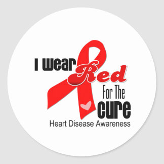 I Wear Red For The Cure Heart Disease Sticker