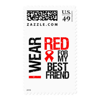I Wear Red Ribbon For My Best Friend Stamp