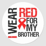 I Wear Red Ribbon For My Brother Round Sticker