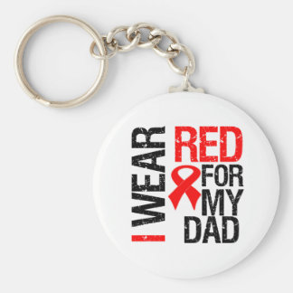I Wear Red Ribbon For My Dad Basic Round Button Keychain
