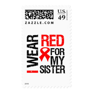 I Wear Red Ribbon For My Sister Stamps