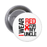 I Wear Red Ribbon For My Uncle Pinback Button