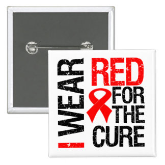 I Wear Red Ribbon For The Cure Button
