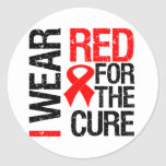 I Wear Red Ribbon For The Cure Stickers