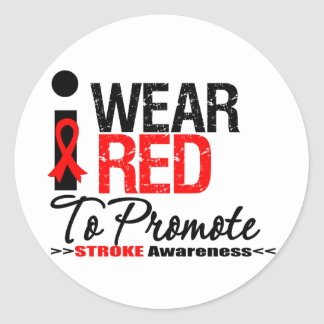 I Wear Red Ribbon To Promote Stroke Awareness Classic Round Sticker