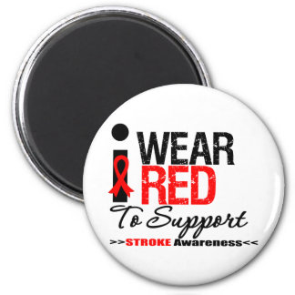 I Wear Red Ribbon To Support Stroke Awareness Refrigerator Magnet