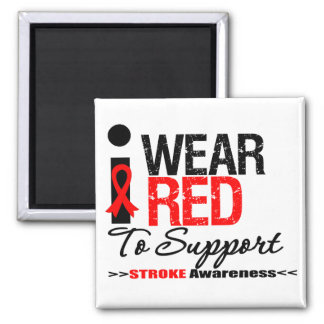 I Wear Red Ribbon To Support Stroke Awareness Refrigerator Magnets