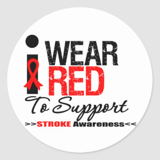 I Wear Red Ribbon To Support Stroke Awareness Classic Round Sticker