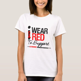 I Wear Red Ribbon To Support Stroke Awareness T-Shirt