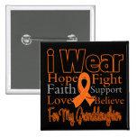 I Wear Ribbon Collage Granddaughter - Leukemia Pinback Buttons