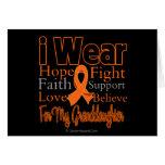 I Wear Ribbon Collage Granddaughter - Leukemia Greeting Cards