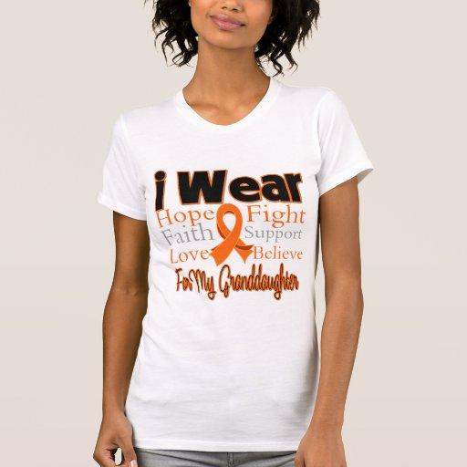 I Wear Ribbon Collage Granddaughter - Leukemia T-shirts