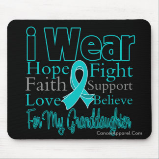 I Wear Ribbon Collage Granddaughter Ovarian Cancer Mouse Pad