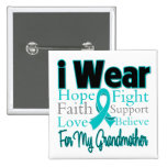 I Wear Ribbon Collage Grandmother - Ovarian Cancer Pin