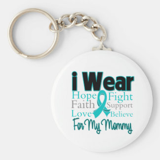 I Wear Ribbon Collage Mommy - Ovarian Cancer Basic Round Button Keychain