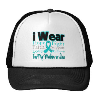 I Wear Ribbon Collage Mother-in-Law Ovarian Cancer Trucker Hat