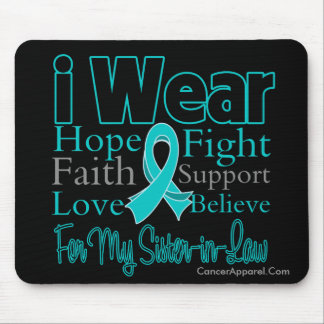 I Wear Ribbon Collage Sister-in-Law Ovarian Cancer Mouse Pad
