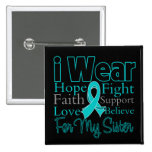 I Wear Ribbon Collage Sister - Ovarian Cancer Buttons