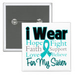 I Wear Ribbon Collage Sister - Ovarian Cancer Button