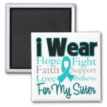I Wear Ribbon Collage Sister - Ovarian Cancer Refrigerator Magnets