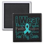 I Wear Ribbon Collage Sister - Ovarian Cancer Fridge Magnets
