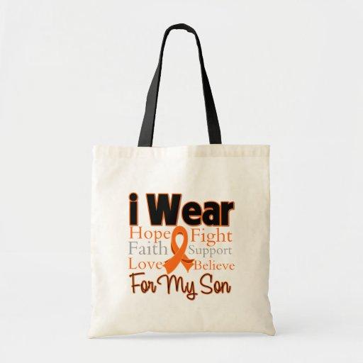 I Wear Ribbon Collage Son - Leukemia Tote Bags