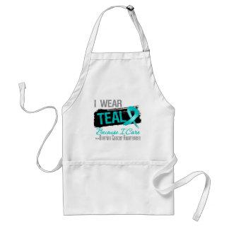 I Wear Teal Because I Care - Ovarian Cancer Adult Apron
