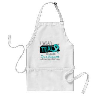I Wear Teal Because I'm a Ovarian Cancer Survivor Adult Apron