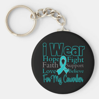 I Wear Teal Collage Coworker - Ovarian Cancer Basic Round Button Keychain