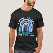 I Wear Teal For Assault Awareness Rainbow Gifts T-Shirt