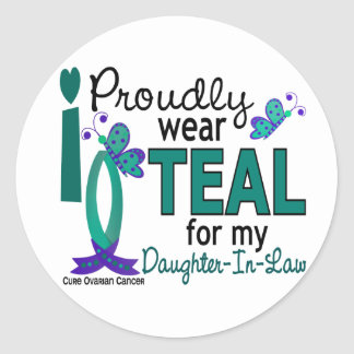 I Wear Teal For Daughter-In-Law 27 Ovarian Cancer Round Stickers