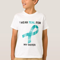 I wear Teal For Food Allergy Awareness Teal Ribbon T-Shirt