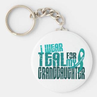 I Wear Teal For Granddaughter 6.4 Ovarian Cancer Keychain
