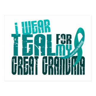 I Wear Teal For Great Grandma 6.4 Ovarian Cancer Postcard