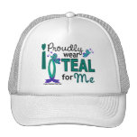 I Wear Teal For Me 27 Ovarian Cancer Mesh Hats