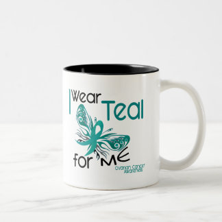 I Wear Teal For ME 45 Ovarian Cancer Two-Tone Coffee Mug