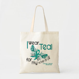 I Wear Teal For Mother-In-Law 45 Ovarian Cancer Budget Tote Bag