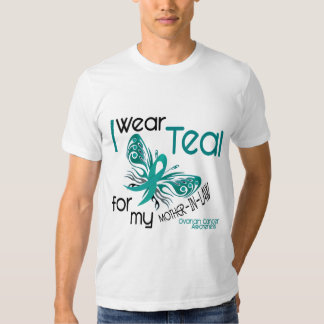 I Wear Teal For Mother-In-Law 45 Ovarian Cancer T-shirt