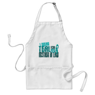 I Wear Teal For Mother-In-Law 6.4 Ovarian Cancer Adult Apron