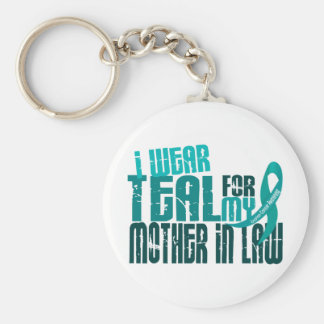 I Wear Teal For Mother-In-Law 6.4 Ovarian Cancer Keychain
