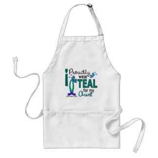 I Wear Teal For My Aunt 27 Ovarian Cancer Adult Apron