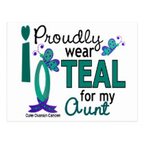I Wear Teal For My Aunt 27 Ovarian Cancer Postcard