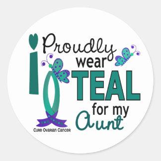 I Wear Teal For My Aunt 27 Ovarian Cancer Round Sticker