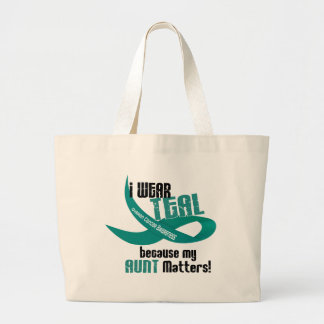 I Wear Teal For My Aunt 33 OVARIAN CANCER T-Shirts Large Tote Bag