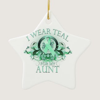 I Wear Teal for my Aunt (floral).png Ceramic Ornament