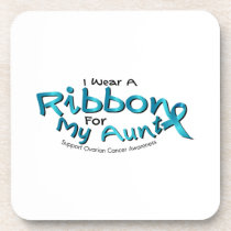 I Wear Teal For My Aunt Ovarian Cancer Awareness Beverage Coaster