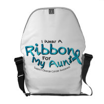 I Wear Teal For My Aunt Ovarian Cancer Awareness Courier Bag
