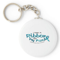 I Wear Teal For My Aunt Ovarian Cancer Awareness Keychain
