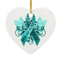 I Wear Teal for my Aunt.png Ceramic Ornament
